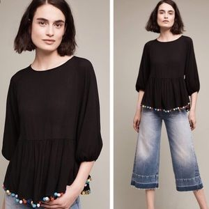 Anthropologie || Eri + Ali Pom Pom Blouse